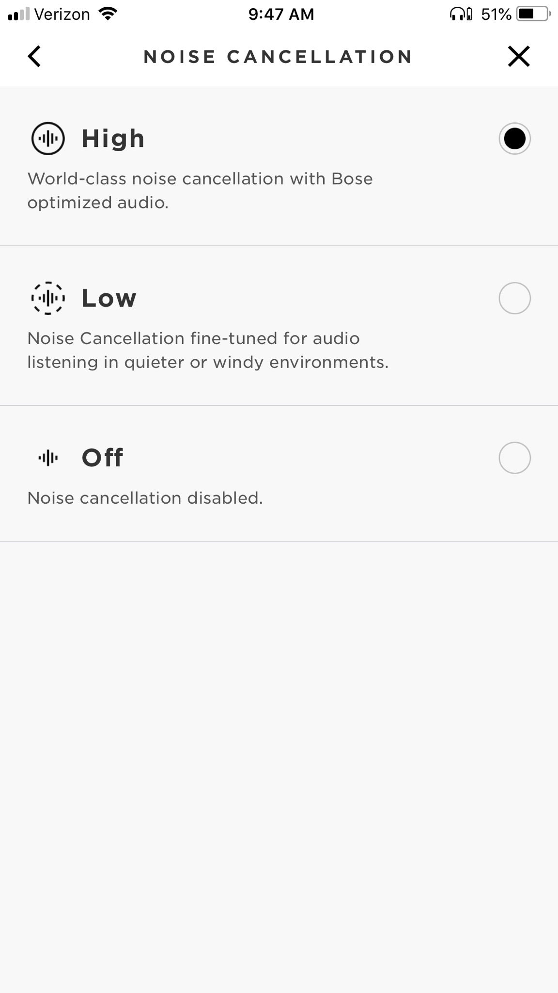 ab9f3e62edc Could you confirm what version of the Bose connect app and what version iOS  you are running?