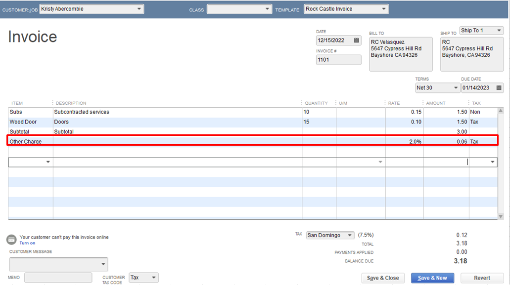 solved  add a percentage to invoice total