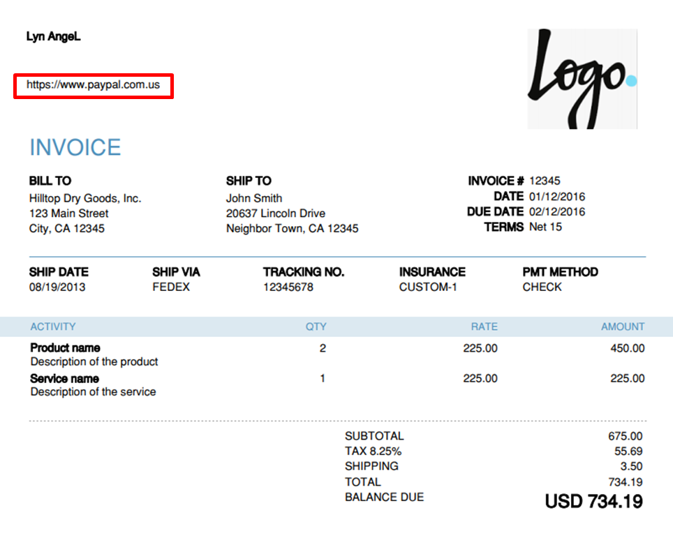 When customizing my invoice with my website URL, how can I get