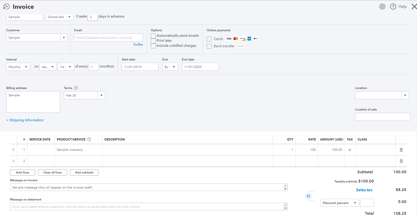 Recurring Invoices In Qbo