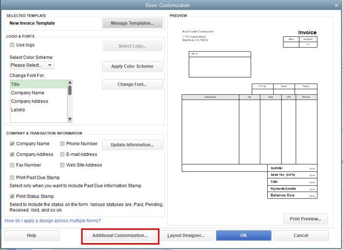 Invoice Template Modification