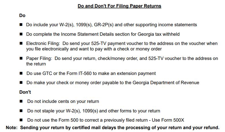 Attachments to GA tax return