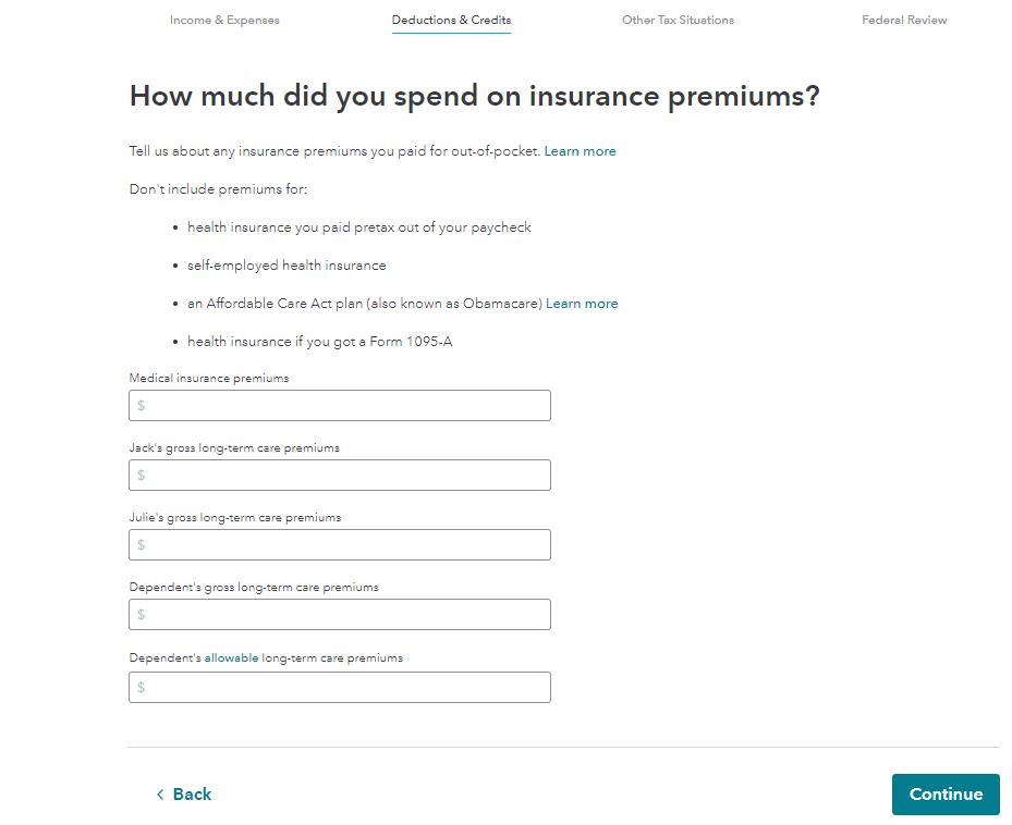 Medical insurance premiums