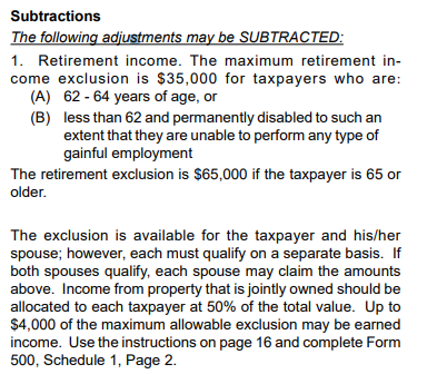 Retirement income exclusion
