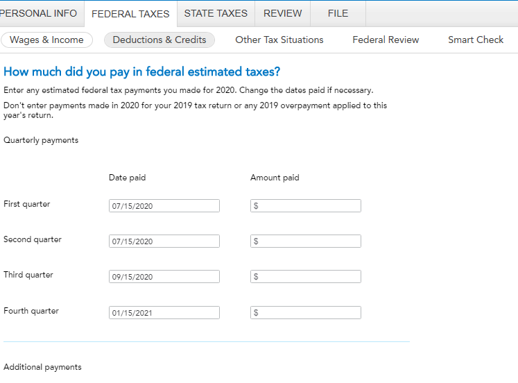 Federal estimated payments