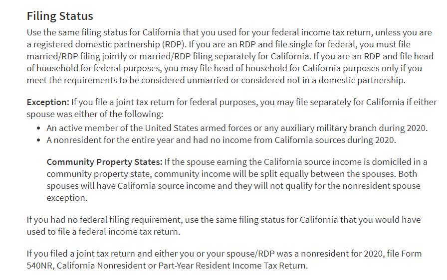 CA nonresident filing status
