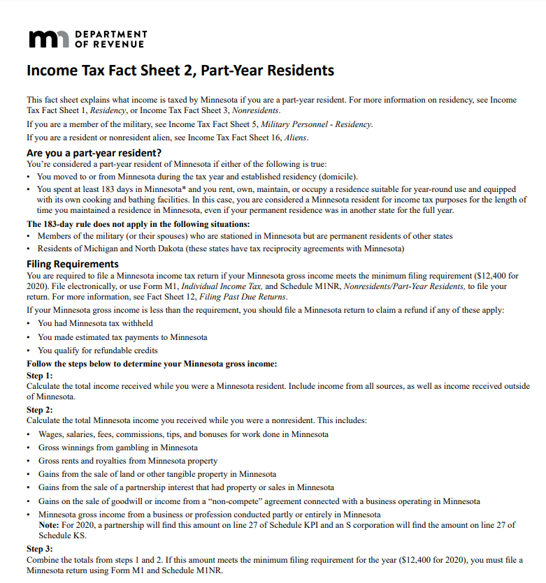 MN filing requirement