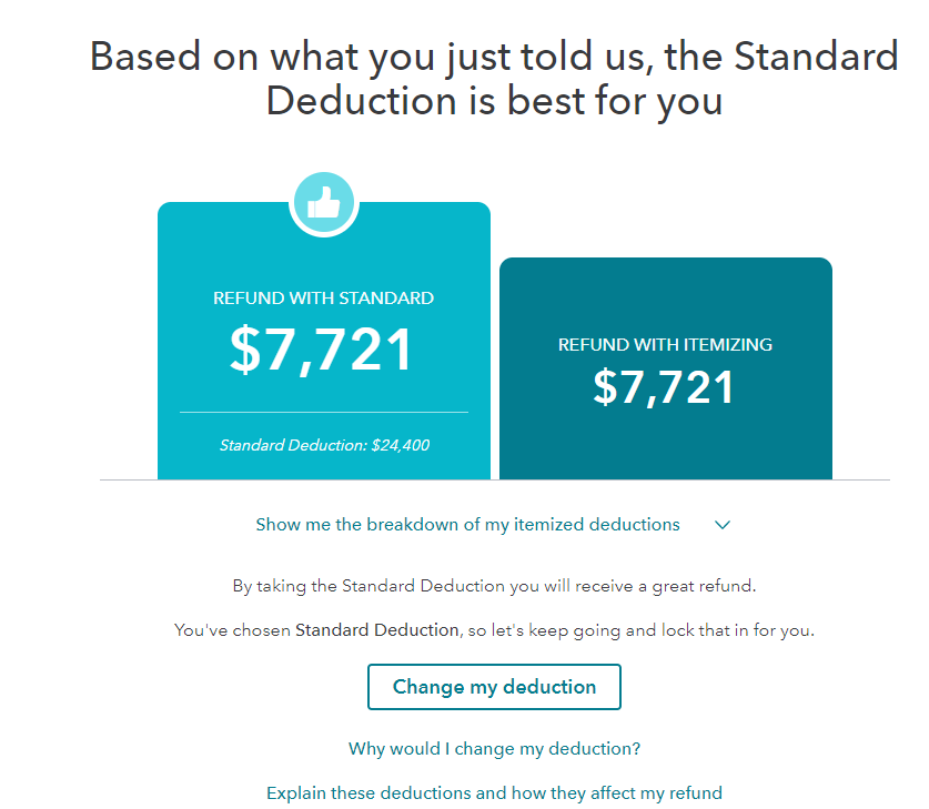 Standard versus itemized deduction