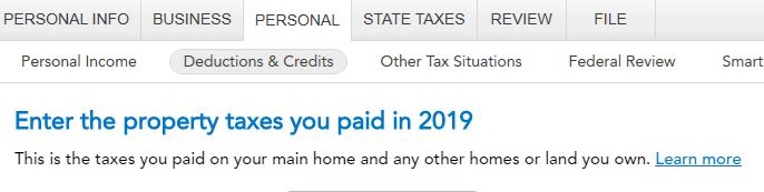 Property taxes input