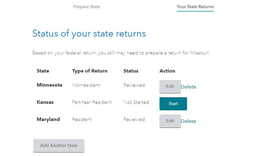 State tax return