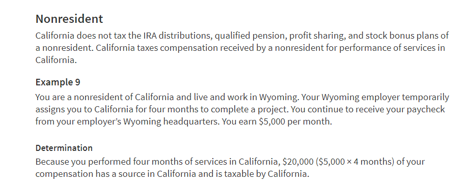 CA nonresident taxation on compensation