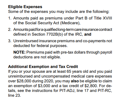 Eligible expenses from NM