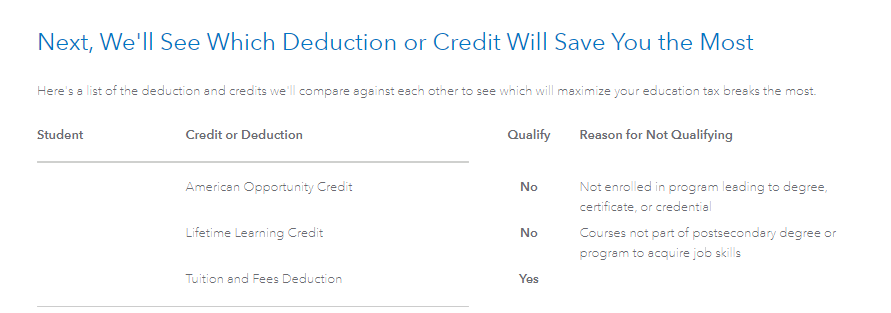 Education credit