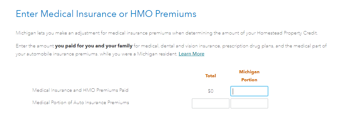Medical premiums