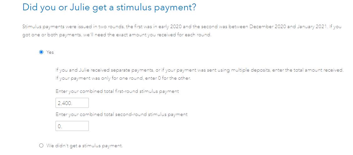 Stimulus payment input