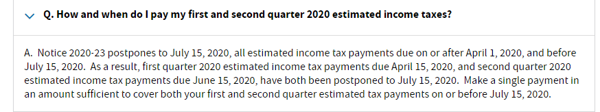 2020 Estimated tax payment date