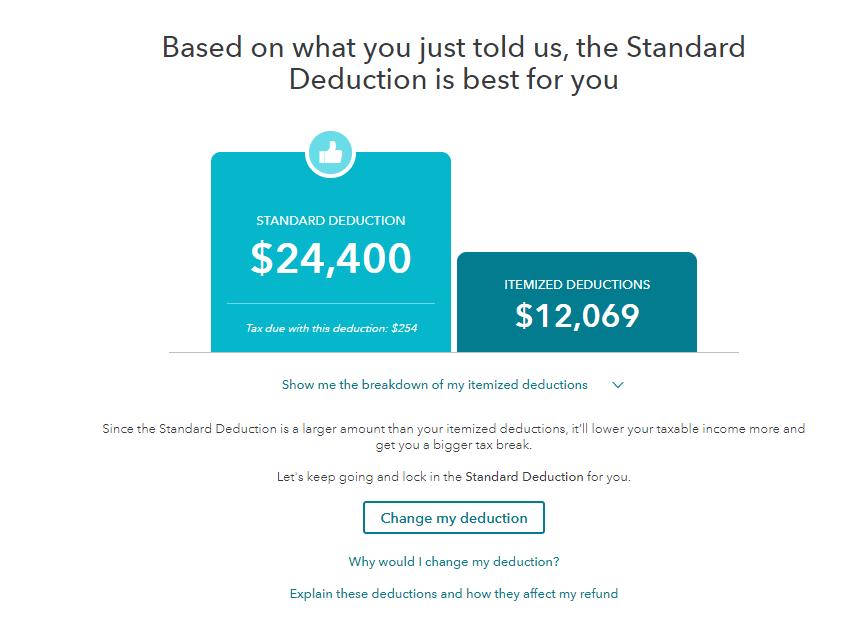 Standard vs itemized