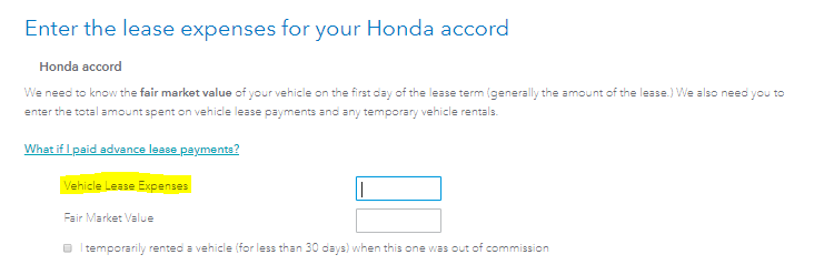 Auto lease inclusion input