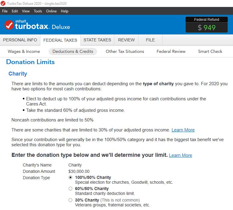 Charity donation limits